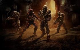 Картинка команда, бойцы, спартанцы, Halo 5: Guardians, агент Лок