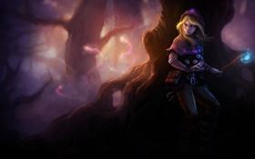 Обои лес, девушка, магия, темно, арт, капюшон, фонарь