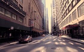 Обои машины, движение, улица, здания, небоскребы, америка, чикаго