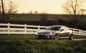 Обои Mazda, мазда, RX-8, silvery, Evoked, белый забор