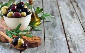 Обои ложка, миска, оливки, листики, leaves, spoon, оливковое масло