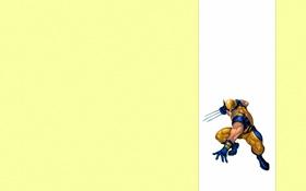 Картинка минимализм, злой, Росомаха, Логан, люди икс, Wolverine, желтый фон