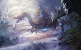 Картинка туман, замок, дракон, арт