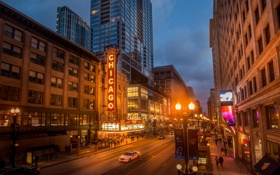 Обои улица, небоскребы, вечер, Чикаго, фонари, USA, Chicago
