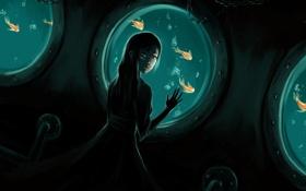 Картинка море, девушка, рыбки, рыбы, темно, арт, под водой