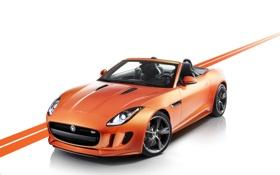 Обои оранжевый, Jaguar, Кабриолет, Купэ, Передок, F-type