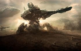 Обои пустыня, корабли, пыль, роботы, Планета, солдаты