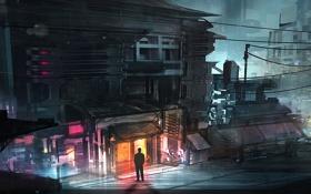 Картинка ночь, город, дом, улица, арт, мегополис