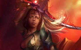 Картинка девушка, магия, меч, арт, Anastasia Bulgakova