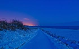 Обои зима, дорога, поле, ночь