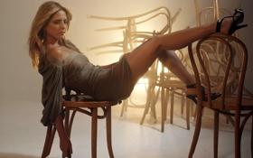 Обои эротично, платье, SARAH MICHELLE GELLAR, стуль, свет, поза