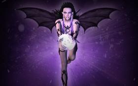 Обои украшения, рендеринг, магия, Девушка, крылья, острые уши