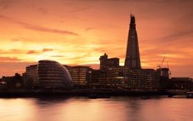 Картинка закат, река, здания, англия, лондон, вечер, london