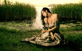 Картинка платье, средневековье, красавица, старина, природа, девушка, озеро