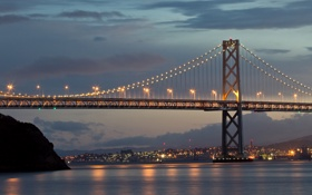 Картинка Сумерки, San Francisco, Город, Sky, Bay Bridge, Twilight, City
