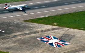 Обои Самолет, Земля, Вид сверху, Взлет, Пассажирский, Airbus, Взлетная полоса