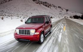 Картинка Красный, Зима, Дорога, Снег, Фары, Внедорожник, Jeep