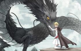 Обои девушка, горы, дракон, аниме, арт, объятия, накидка
