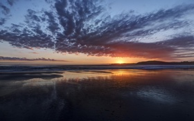 Картинка небо, закат, берег, Природа