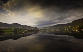 Картинка облака, горы, отражение, река, дома, river, mountains