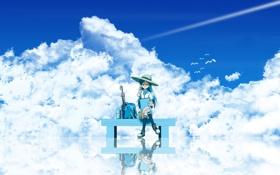 Обои небо, девушка, облака