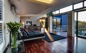 Обои диван, кровать, подушки, телевизор, спальня, interior, luxury