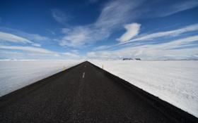 Обои дорога, поле, перспектива