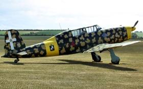 Картинка поле, учебно-тренировочный, Fiat G.46, самолет