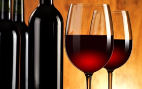 Картинка фон, вино, красное, бокалы, бутылки