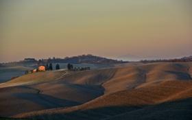 Картинка осень, небо, деревья, закат, горы, дом, холмы