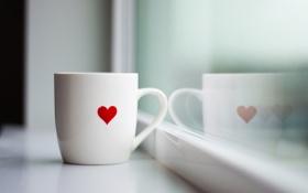 Обои стекло, макро, чай, сердце, кофе, утро, окно