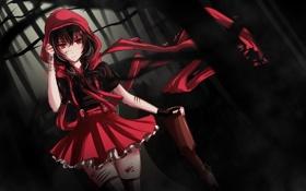 Картинка лес, кровь, красная шапочка, арт, девочка, бинты, раны