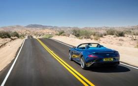 Картинка дорога, Aston Martin, автомобиль, вид сзади, Vanquish, Volante