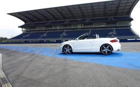 Обои Audi, Трибуна, Авто, Белый, ABT, Вид сбоку, Кабриолет