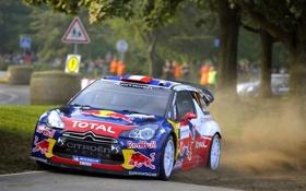 Картинка Пыль, Citroen, DS3, Rally, Ралли, Передок, S. Loeb