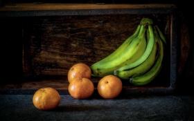 Обои бананы, фрукты, мандарины
