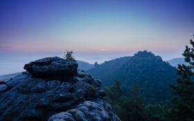 Картинка небо, пейзаж, горы, утро