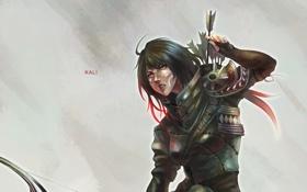 Обои девушка, арт, стрелы, лучник, kali