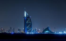 Обои lights, night, city, dubai, united arab emirates