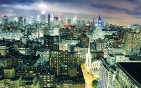 Картинка ночь, огни, нью-йорк, Night, New York City, usa, nyc