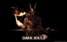 Картинка Огонь, Тёмный рыцарь, Меч