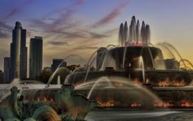 Картинка город, небоскребы, Чикаго, фонтан, США, Chicago, illinois