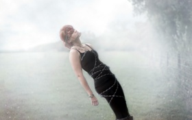 Обои девушка, туман, ситуация, цепь