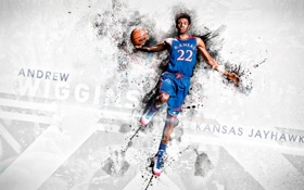 Обои kansas, basketball, бросок, NBA draftt, Andrew Wiggins