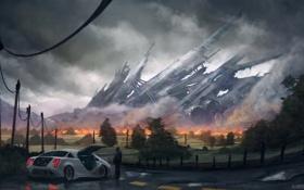 Картинка огонь, крушение, машина, человек, ограда, дорога, разметка