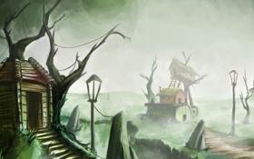 Картинка арт, дома, туман