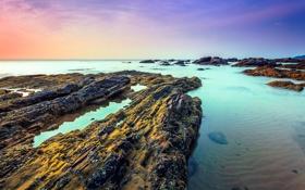 Картинка песок, камни, океан, скалы, рассвет, берег, Малазия