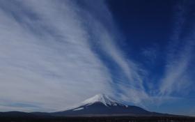 Обои облака, япония, гора, горизонт, Фудзи, Mount Fuji, Фудзияма