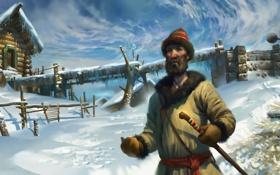 Обои зима, снег, мужик, деревня, арт, русь