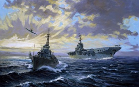 Обои Самолет, Море, Авианосец, Рисунок, Небо, Корабль, Эсминец